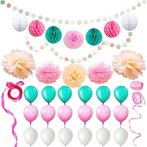 Eightnight Juegos de artesanía de Papel para DIY Feliz cumpleaños Decoraciones del Partido, Fiesta de Bienvenida al bebé, guirnaldas de Punto de círculo, Papel de Seda Nido de Abeja