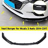 No logo 3pcs / Set Negro Brillante del Parachoques Delantero del Labio con Tornillos de la Cubierta del Protector alerón Guardia for Mazda 3 Axela 2014-2017
