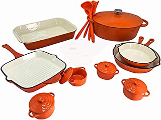Le Chef 19-Piece Enameled Cast Iron Orange Cookware Set