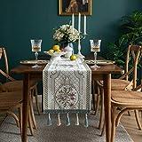 PhantasyIsland.com Mantel Rectangular de Lino y algodón, Resistente a la Suciedad, a Rayas, para decoración de Mesa de Comedor o Cocina, 33X260cm
