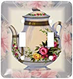 3dRose lsp_37380_2 Victorian Flower Teapot On Blue Pink Floral Background Double Toggle Switch