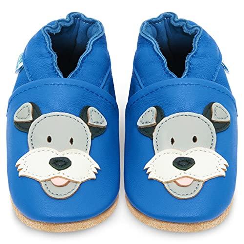 YIHAKIDS miękkie, skórzane buty do nauki chodzenia, buty do raczkowania, kapcie niemowlęce z zamszową podeszwą dla chłopców i dziewczynek, Niebieski pies Duky, 0-6 Miesi?ce