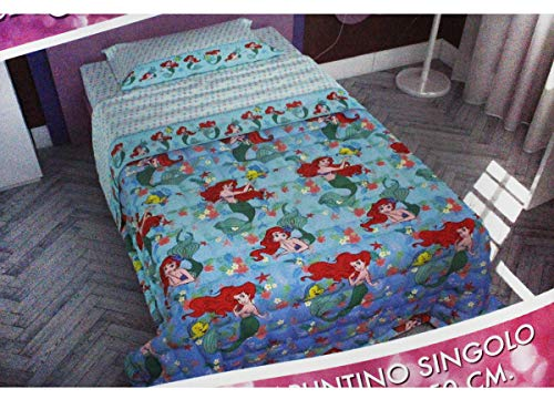 Russo Tessuti Copriletto Trapuntato Trapuntino Letto Singolo 1 Piazza Sirenetta Ariel Disney