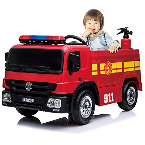 kidsclub Ride On Fire Truck Toy, Remote Control Electric Car, 12 Volt Toddler Power Motorized Driving Cars for Kids 4 wheeles Big Car, Water Gun, Hat, Extinguisher, Horn, Siren, Indoor, Outdoor