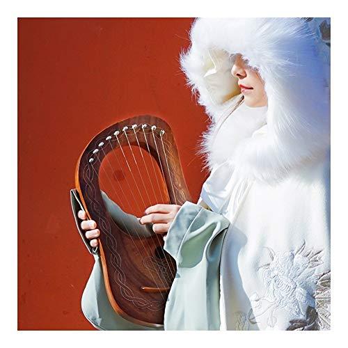 10-saitig Lyre Harfe, Tragbar Saiteninstrumentenset, Rosenholz Bassakkord Mit Stimmschlüssel Stoff Handtasche Geeignet Für Anfänger, Jugendliche, Erwachsene, Kind ( Color : Brown , Size : 24x41cm )