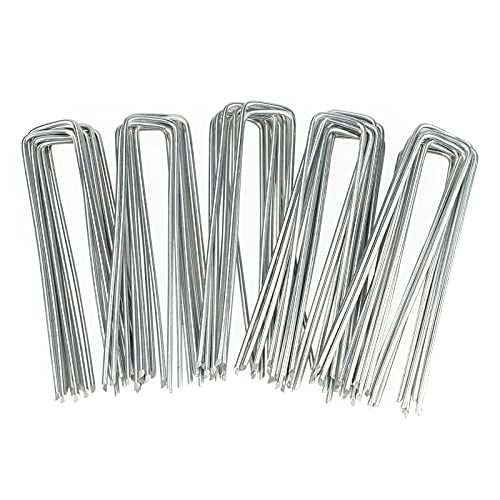 KINGLAKE 50 Pcs 6'' U-Shaped Landscape Staples Garden Stakes Galvanised Garden Pegs Garden U Pins Grass Anchor for Securing Weed Landscape Fabric, Netting,3mm