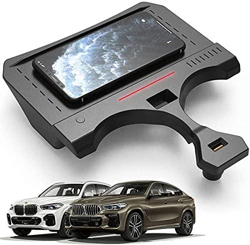 QXIAO Cargador Inalámbrico para Coche para X5 2019 2020 2021 Panel de Accesorios de Consola Central, Almohadilla para Teléfono de Carga Rápida Qi de 15W con Puerto USB para iPhone 11 / XS/XR/X/8