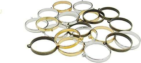 30PCS 32mm Round Open Back Bezel Pendant with 1 Loop for Resin for Jewelry Making (Silver&Gold&Bronze)