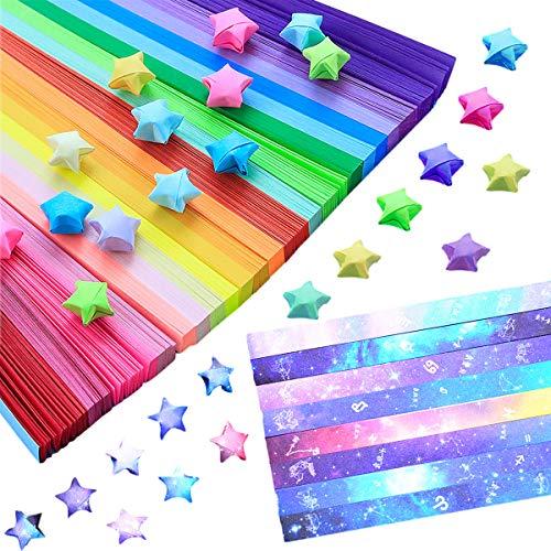 Papel Origami Star(1080 Hojas),Doble Cara Origami Estrellas,Lucky Star Tira,Origami Papel Estrellas,Origami Paper Craft Papel Plegable Starry Sky Papel