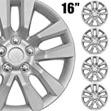 BDK (4-Pack) Premium 16' Wheel Rim Cover Hubcaps OEM Style Replacement Snap On Car Truck SUV Hub Cap - 16 Inch Set