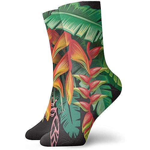 Crew Socken Tropische Pflanzen und Heliconia Blumen Arbeitsausrüstung Crew Socks Athletic Cushion Sock