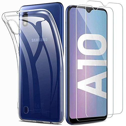 iLiebe Kompatibel mit Samsung Galaxy A10 Hülle+ Panzerglas Set, [1 Schutzhülle + 2 Schutzfolie] Handyhülle [Ultra Dünn] 9H Bildschirmschutzfolie TPU Silikon Hülle Cover für Samsung Galaxy A10