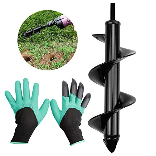 DESON Garden Auger Drill Bit Earth Spiral Digging Cultivator Tool Hole Digger with a Pair of Gloves for Planting Seedlings Trees Shrubs Bulbs Flower Grass for 3/8' Hex Drive Drill