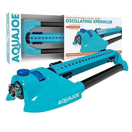 Aqua Joe AJ-OMS20-BRS 4973 Sq Ft Variable-Width Turbo Oscillating Sprinkler, 6 Switchable Spray Nozzles