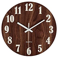 jomparis 12 Night Light Function Wooden Round Wall Clock Vintage Rustic Country Tuscan Style for Kitchen Bedroom Office Home Silent & Non-Ticking Large Numbers Battery Operated Indoor Clocks