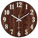 30 cm Orologio da Parete Rotondo in Legno Decorazione Shabby Chic-Orologio Silenzioso a Quarzo per Salotto, Cucina, Camera da Letto, Bagno