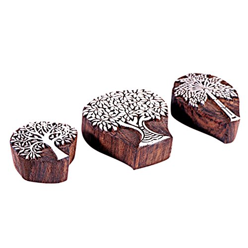 Hashcart Baren for Block Printing Stamps/Wooden Stamping Block/Handcarved Designer Craft Printing Pattern for Saree Border,Henna/Textile Printing,Scrapbooking,Pottery Crafts & Wall Painting,Set of 3