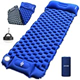 Camping Sleeping Pad Inflatable UPBOXN, Camping LED Light with Built-in Foot Pump Ultralight Waterproof Sleeping Mat with Pillow for Backpacking, Camp, Hiking, Travel with Carrying Bag Blue + Gray