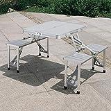 ZHDDM Mesa de Picnic Plegable Portátil con 4 Asientos, Mesa de Maleta para Acampar al Aire Libre Liviana con Orificio para Paraguas