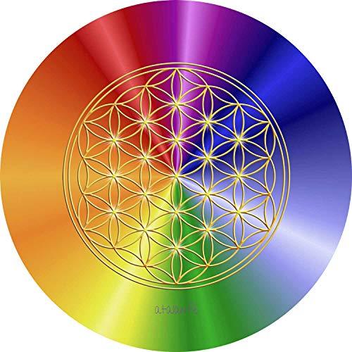 atalantes spirit Blume des Lebens Mauspad - Rainbow 19cm, rund - Energieuntersetzer Regenbogen - MousePad Lebensblume