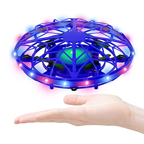 Hand Operated Drone for Kids or Adults, Shinning Color LED Hands-Free Motion Sensor Mini Drone, Hand -Controlled Flying Easy Indoor Small UFO Toy Flying Ball Drone Toy for Boys and Girls Blue