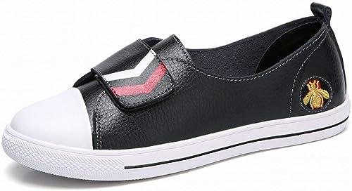 Fuxitoggo Chaussures Blanches en Cuir à Velcro Chaussures Tout Confort Confort pour étudiants (Couleuré   Noir, Taille   37)  plus abordable
