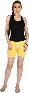 Campus Sutra Yellow Pro Solid Women's Chino Shorts with Tipping Yellow