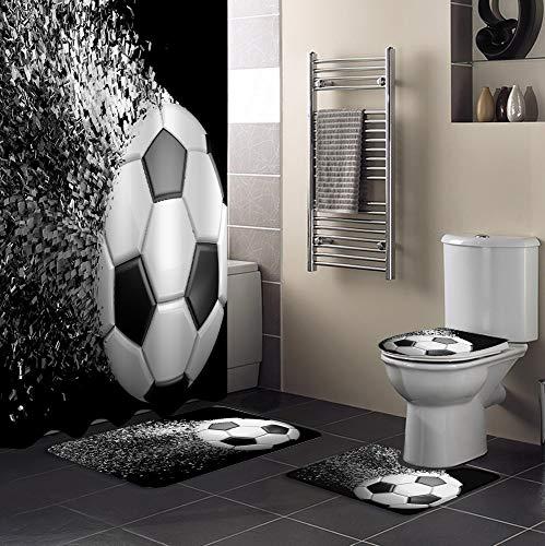 Minyose Fußbälle Fußball Design Duschvorhang Sets rutschfeste Teppiche Toilettendeckelabdeckung Und Badematte wasserdichte Badvorhänge 180X180 cm