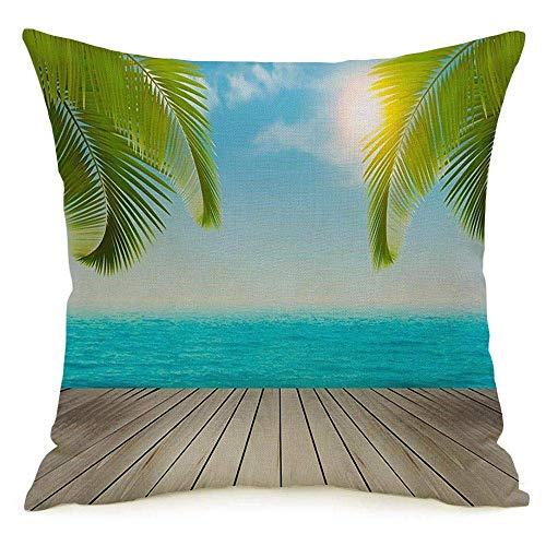 shenhaimojing Funda De Almohada,Funda De Almohada Cuadrada Naturaleza Vacaciones Agua Ocio Playa Aventura Palmeras Paraíso Parasol Tour Verde Azul Diseño