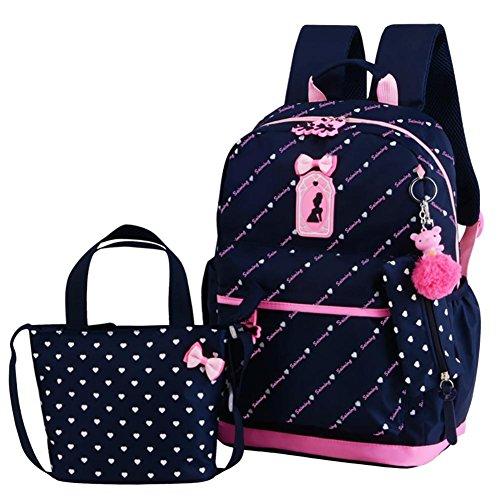 juman634 Mochila Linda Mochila Tipo Princesa Impermeable Casual All-Match Small Print Preppy Style Bag Middle School Student Bag para niñas