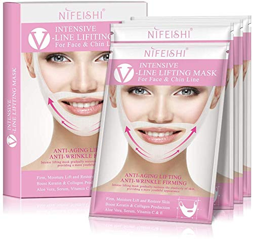 V-Line face Chin Lift and Shaping Mask Slimming Lifting Firming Double Chin Treatment Mask Firm Moisture, Lift and Restore Skin Infused Aloe Vera, Serum, Vitamin C, Collagen, and Keratin
