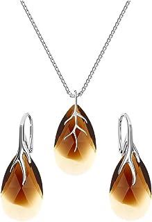 Beforya Paris - 35 Colors - BA/39 Almond's Pear Shape from Swarovski - 925 Sterling Silver - Women's Jewellery Set - Jewellery Swarovski Elements with Bag and Gift Box PIO/72