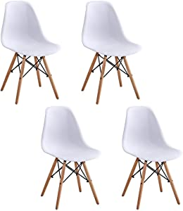 HomeSailing White Wood Dining Table and 4 Chairs Set 5 Pieces Kitchen White Wooden Dining Table and 4 Retro Eiffel Plastic Chairs for Dining Room Restaurant Office Tea Room Home Furniture