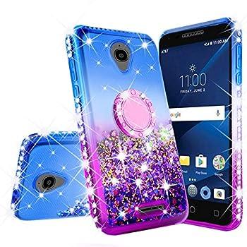 Alcatel Verso/IdealXCITE/CameoX/Raven LTE  A574BL /U50  5044R  Case Bling Liquid Glitter Shock Proof Phone Case Ring Kickstand Diamond Cute Girls Women Cases for Alcatel Raven  Purple/Blue