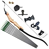 D&Q 68' Archery Takedown Recurve Bow and Arrow Set 20lb/30lb/40lb Right Hand Longbow Kit for Adult Beginner Outdoor Training Hunting Shooting(Black,40lb