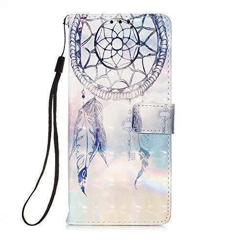 Everainy Kompatibel für Samsung Galaxy A21s Hülle Silikon PU Leder Case Glitzer Flip Stoßfest Bumper Kartenfach Brieftasche Magnetisch 3D Cover Klappbar Hüllen Handyhülle (Traumfänger 1)