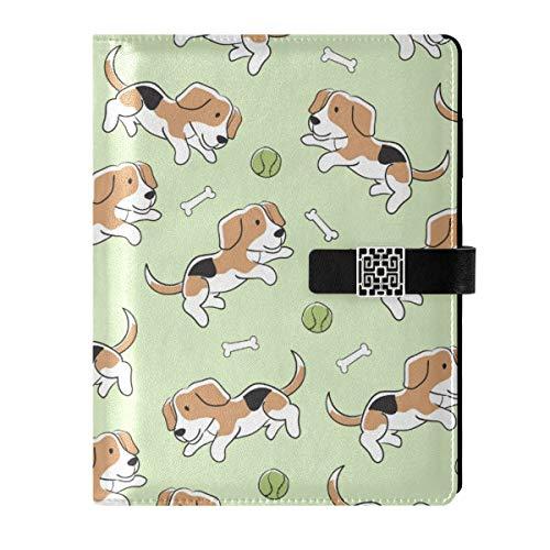 Cuaderno de cuero para escribir diarios, bloc de notas de viaje Beagle lindos perros jugando pelota de tenis rellenable A5 interior con anillas – Cuaderno de tapa dura regalos para hombres y mujeres