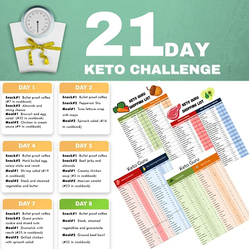 21 Day Keto Challenge Pack with Meal Plan  Keto Cheat Sheets for Beginners Big Size 8'x11' Laminated  Ketogenic Diet 120 Food List Quick Guide Reference Charts for Weight Loss Keto Recipes & Cookbook
