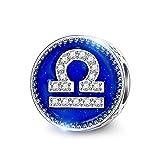 NINAQUEEN Charm para Pandora Charms Libra Signo Zodíaco Regalos Mujer Originales Plata 925 Esmalte Abalorios Compatible con Pulseras y Collares Pandora, Chamilia y European, con Caja de Regalo