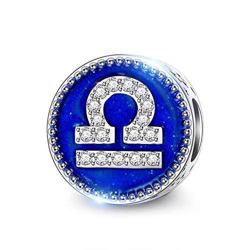 NINAQUEEN Charm für Pandora Charms Waage Konstellationen Sternzeichen Geschenke für Frauen Silber 925 für Pandora, Chamilia & European Armbänder & Halsketten, mit Schmuckkasten
