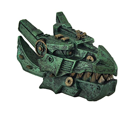 8 in. Long, 5 in. Wide, 4 1/2 in. High 2 in. Interior Depth Expertly Cast in Resin Hand Painted Metallic Bronze and Verdigris Colored Finish A Great Gift For Steampunk Enthusiasts