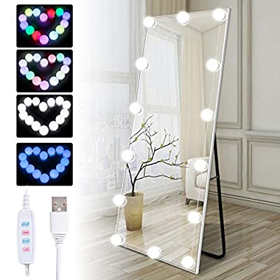 Hollywood Style Led Vanity Mirror Lights Kit with 14 Dimmable Colorful Bulbs for Makeup Dressing Table and Power Supply Plug in Lighting Fixture Strip, Vanity Mirror Light, RGB(No Mirror Included)