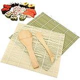 Kit para Hacer Sushi - 4 Pcs Alfombrillas de Bambú Para Sushi, DIY Sushi Esteras Rolling Mats Starter Kits Para Principiantes, Incluye 2 Alfombrillas de Bambú, 1 Paleta de Arroz, 1 Esparcidor de Arroz
