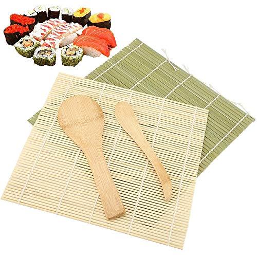 Sushi Matte Set - Bambusmatte Sushi 4-Tlg, Anfänger DIY Bambus Rollmatte für Sushi, Sushi Selber Roll Machen Zubehör Kit Inkl 2 Sushi Matte, 1 Reispaddel, 1 Reisstreuer