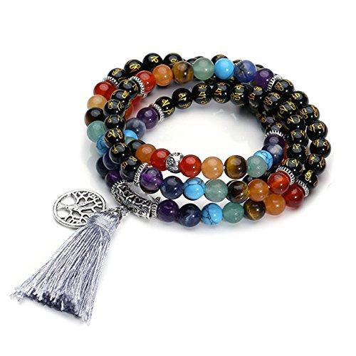 CrystalTears 108 Perlen Edelstein Yoga Om Mani Padme Hum Buddha Armband Chakra Wickelarmband Tibetische Gebetskette...