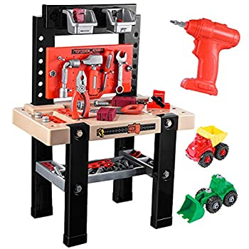 iBaseToy Kids Tool Bench 91 Pieces Toy Workbench with Electric Drill Construction Toy Vehicles and Storage Space Toddler Tool Bench Tool Toys Gift for Boys Girls