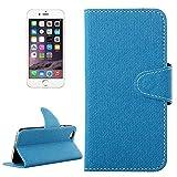 PROTECTIVECOVER + Denim Texture Horizontal Flip Funda de cuero con hebilla magnética con ranuras tarjetas y soporte for IPhone 6 Plus y 6S Plus De Caja de protección de la moda ( Color : Azul )