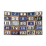 ABAKUHAUS Numero Tappeto da Parete e Copriletto, Numeri civici Collage, per la Camera da Letto, 230 x 140 cm, Multicolore