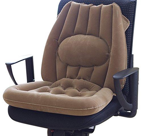 GHZ-Matra Sitzkissen mit Lendenwirbelstütze, aufblasbar, PVC, Velours, braun, 23 x 18.5 x 3 cm