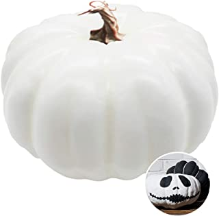 Xilanhhaa 7.8 Inch White Artificial Realistic Decorative Pumpkin,Fake Fall Harvest Pumpkin for Halloween,Thanksgiving Party Decor and DIY Crafts